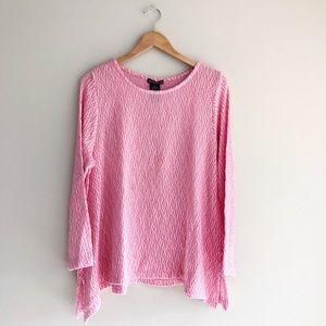 Chelsea & Theodore Knit Sweater Pink/White Sz XXL